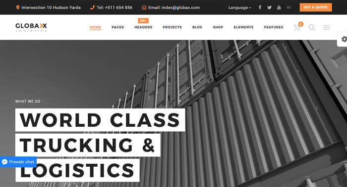Globax - Logistics Woocommerce WordPress Theme Support & Services